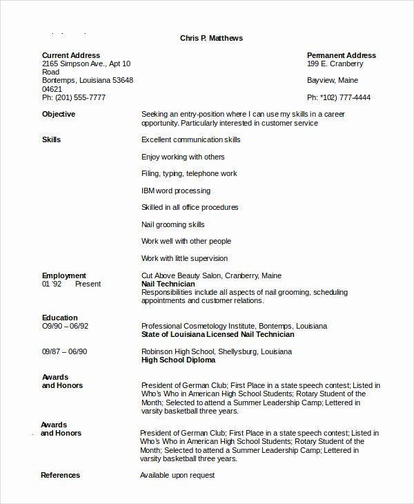 Entry Level Esthetician Resume Beautiful Cosmetology Resume