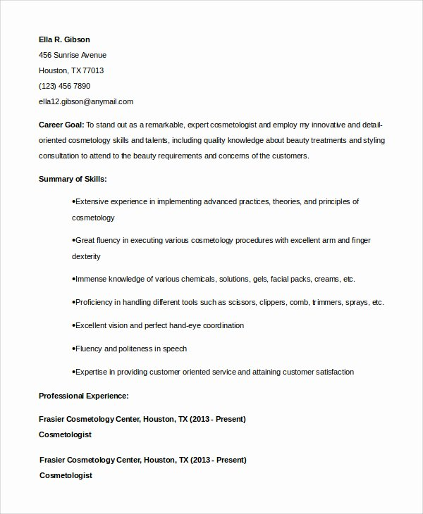 Entry Level Esthetician Resume Elegant Cosmetology Resume