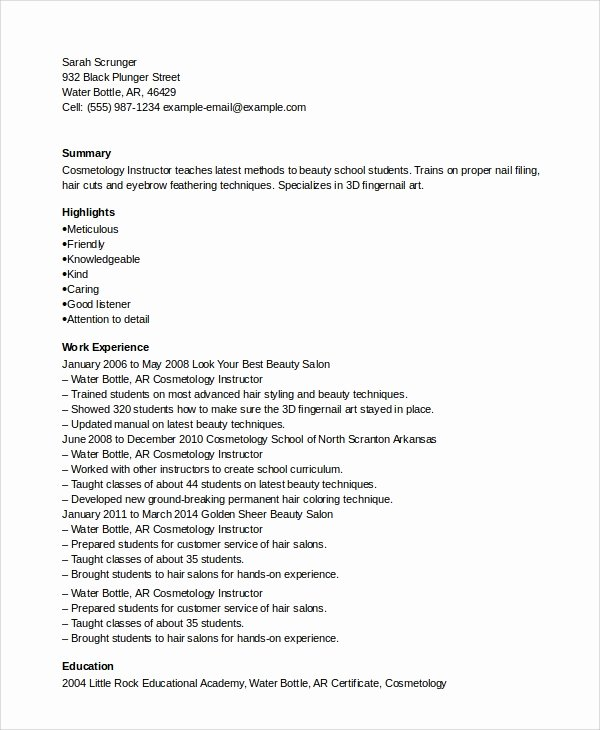 Entry Level Esthetician Resume Fresh Sample Cosmetology Resume 6 Examples In Pdf Word