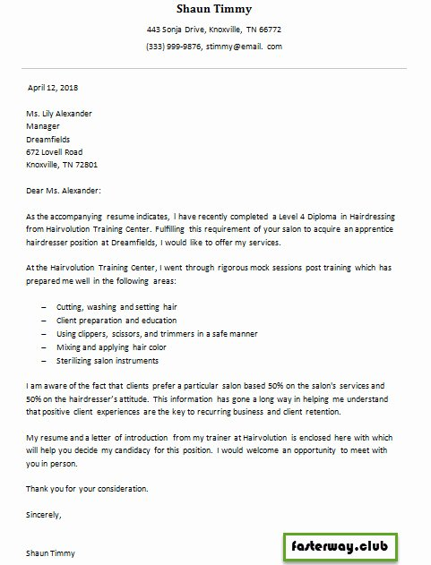 Entry Level Esthetician Resume Inspirational Hairdresser Apprentice Cover Letter 1