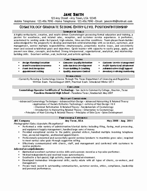 Entry Level Esthetician Resume Unique Beautician Cosmetologist Resume Examples
