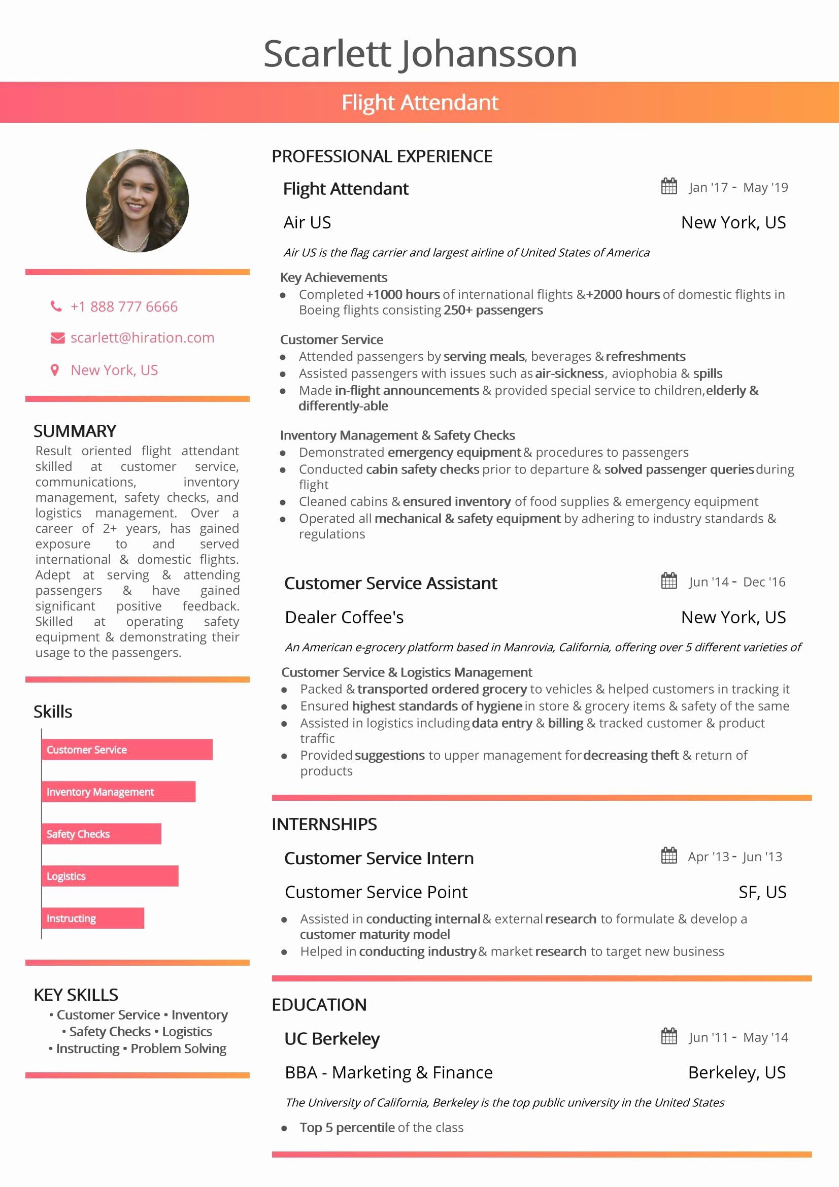 Entry Level Flight attendant Resume Fresh Flight attendant Resume 2019 Guide with Hostess Resume Samples