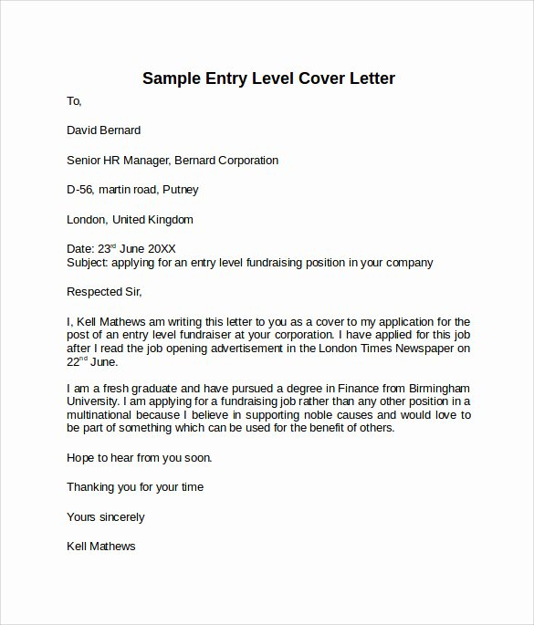 Entry Level Nurse Cover Letter Beautiful Entry Level Cover Letter Templates 9 Free Samples Examples & format