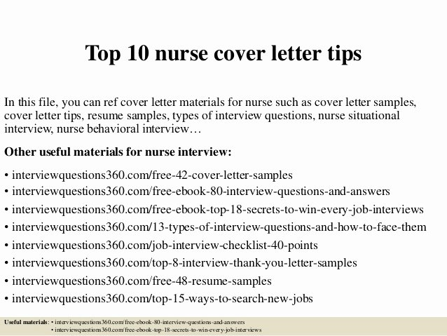 Entry Level Nursing Cover Letter Fresh top 10 Nurse Cover Letter Tips