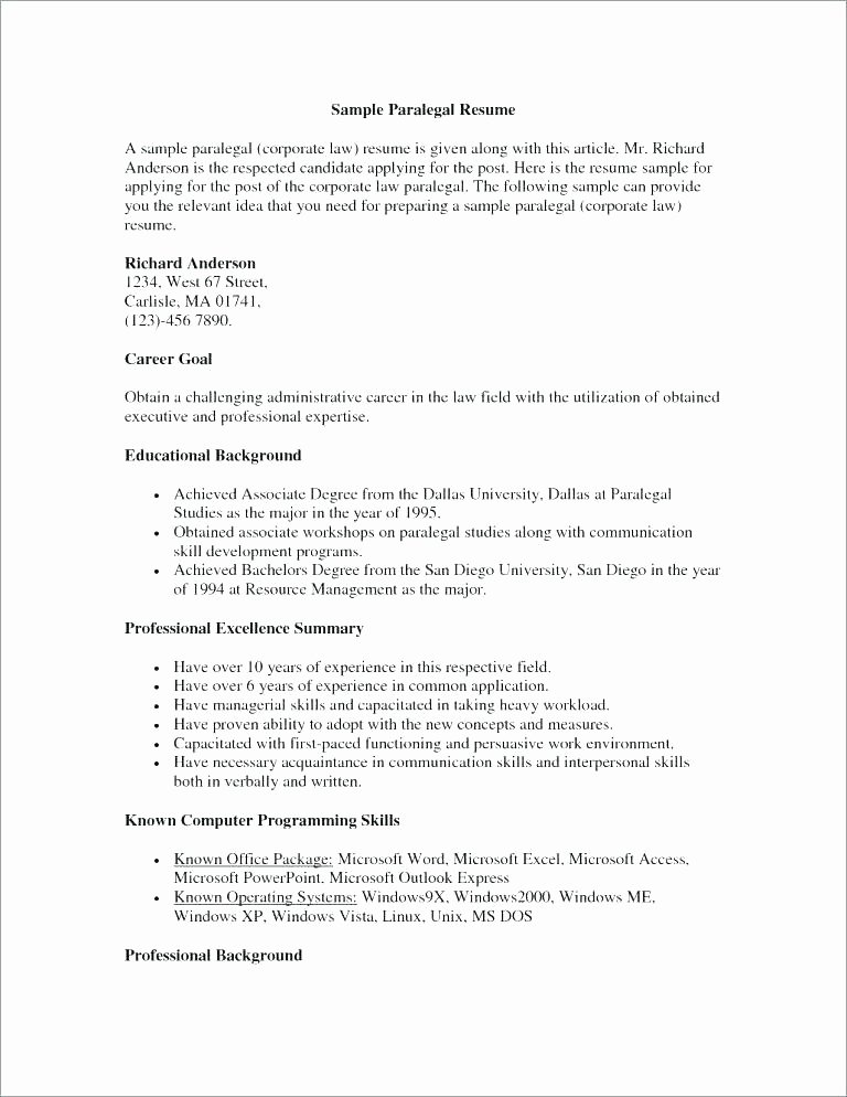 Entry Level Paralegal Resume Awesome Resume Objective for Paralegal – Wikirian