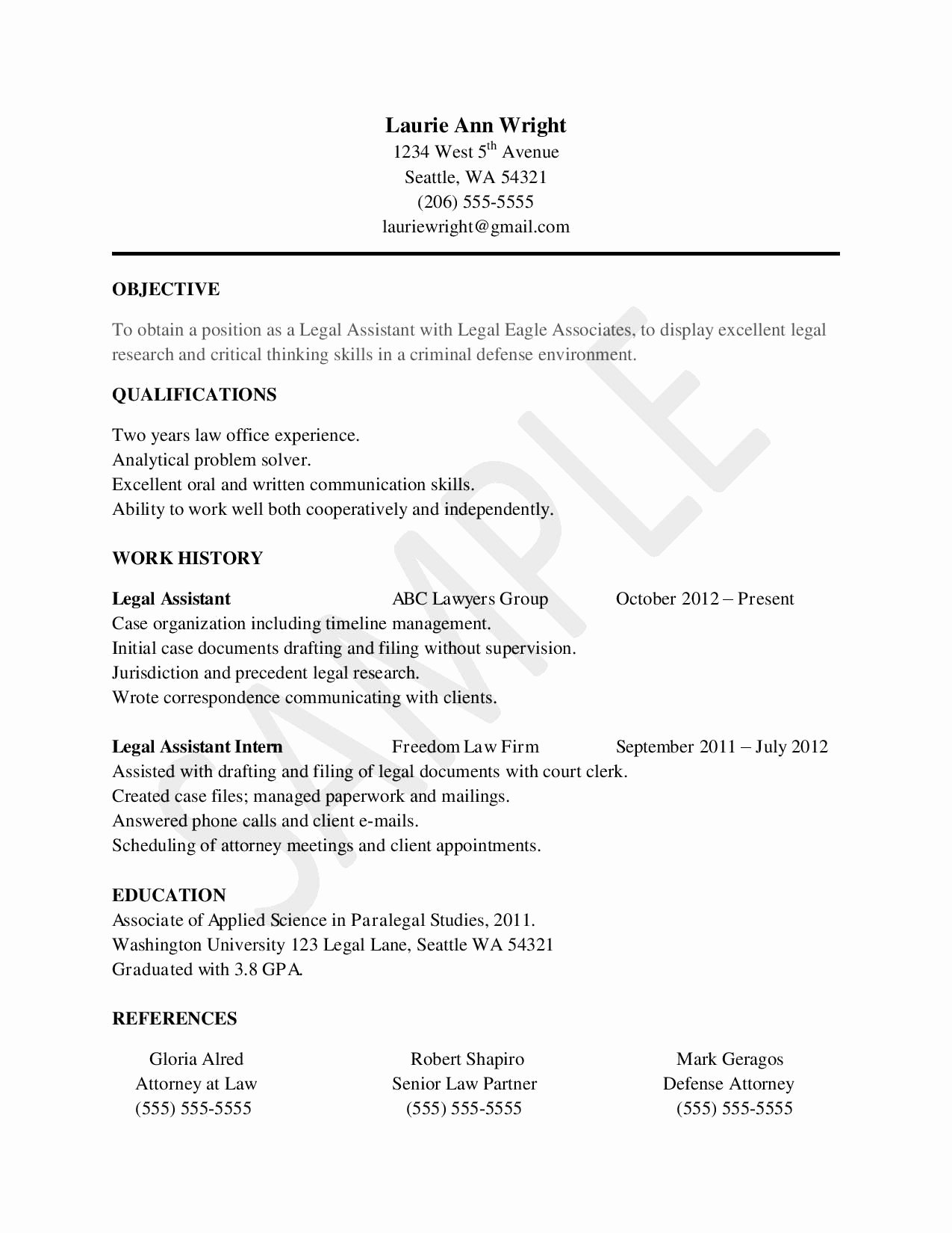 Entry Level Paralegal Resume New Sample Resume for Legal assistants Legal assistant Info