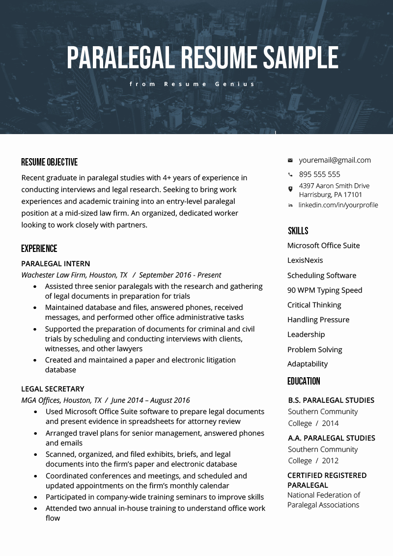 Entry Level Paralegal Resume Unique Paralegal Resume Sample & Writing Guide