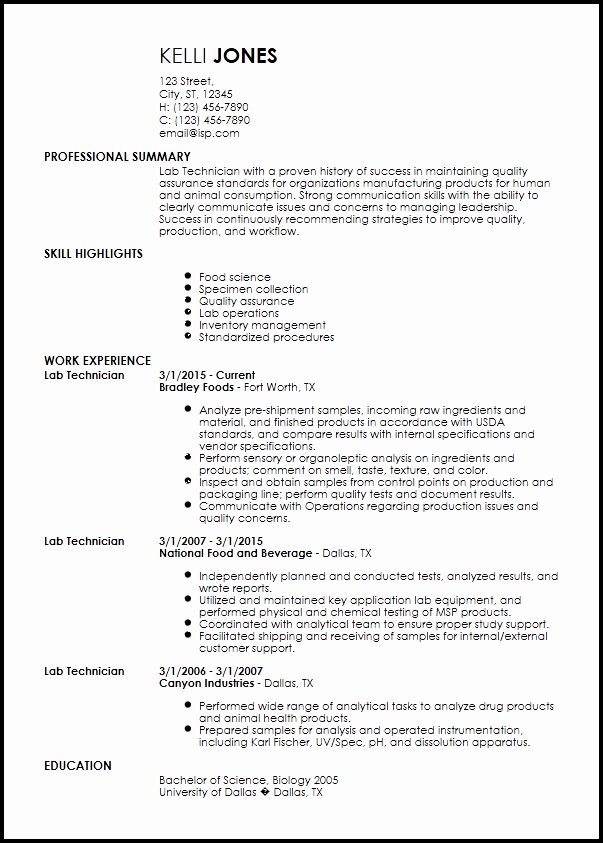 Entry Level Pharmacy Technician Resume Beautiful Free Entry Level Lab Technician Resume Templates