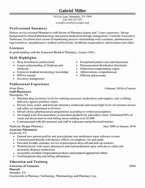 Entry Level Pharmacy Technician Resume Best Of Best Pharmacist Resume Example
