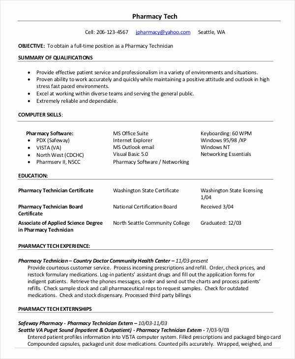 Entry Level Pharmacy Technician Resume Fresh 10 Pharmacy Technician Resume Templates Pdf Doc