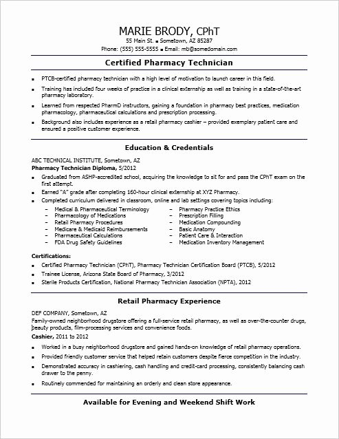 Entry Level Pharmacy Technician Resume Fresh Check Out This Sample Resume for An Entry Level Pharmacy Technician