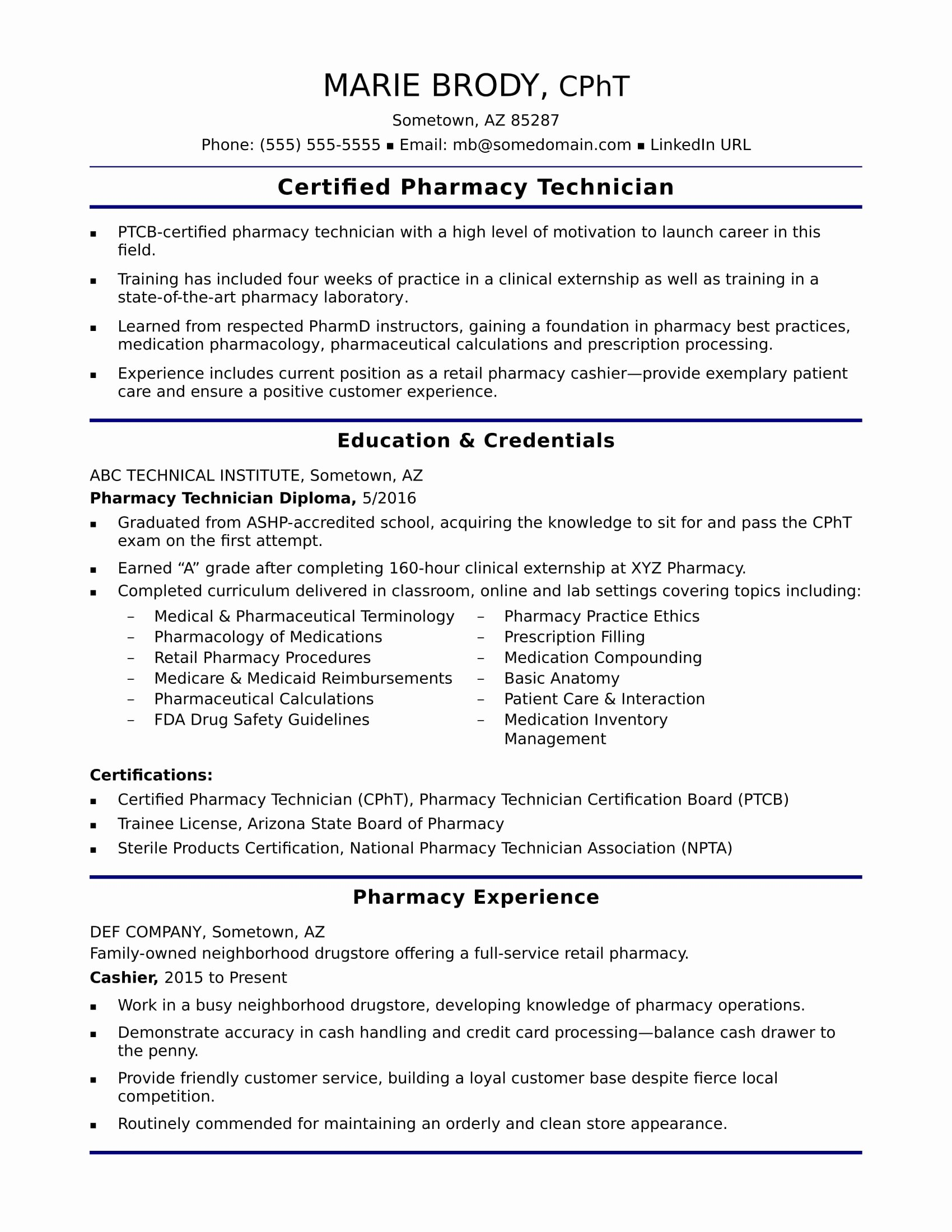 Entry Level Pharmacy Technician Resume Lovely Entry Level Pharmacy Technician Resume Sample