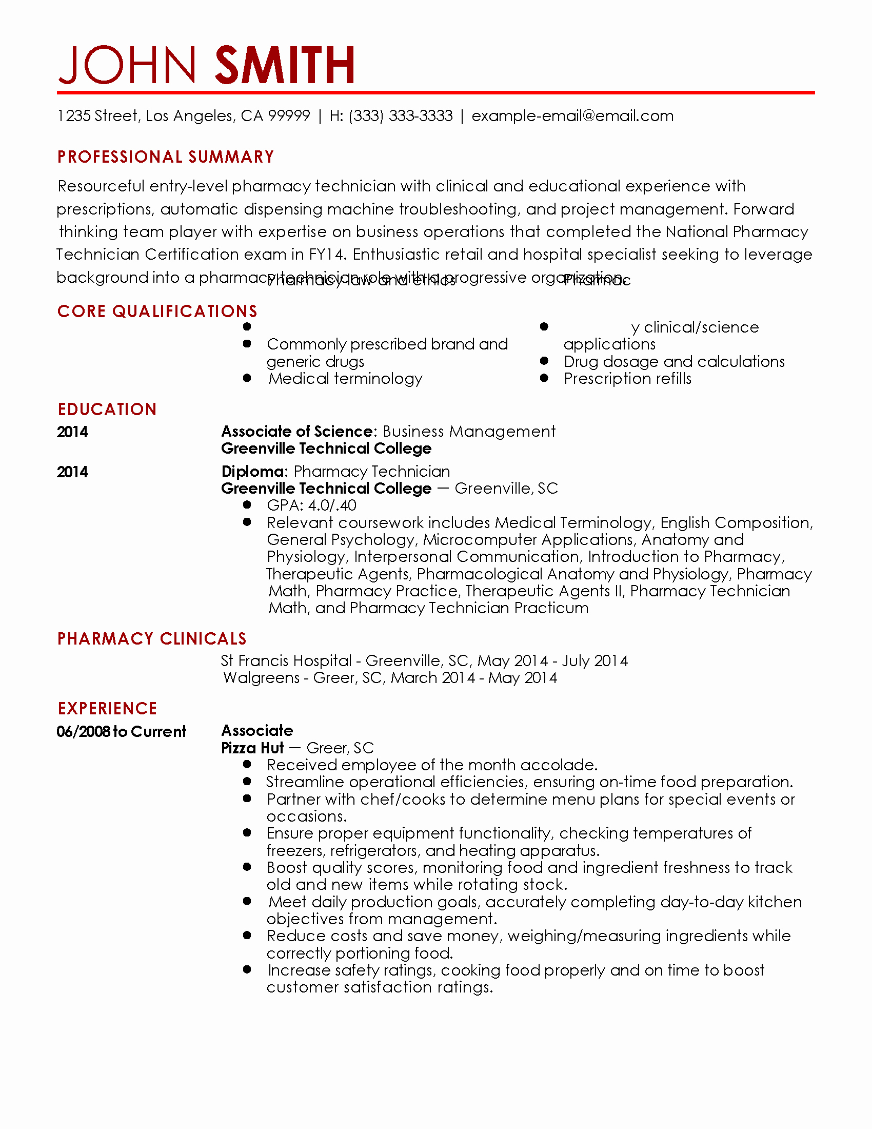 Entry Level Pharmacy Technician Resume New Pharmacy Technician Resume Samples