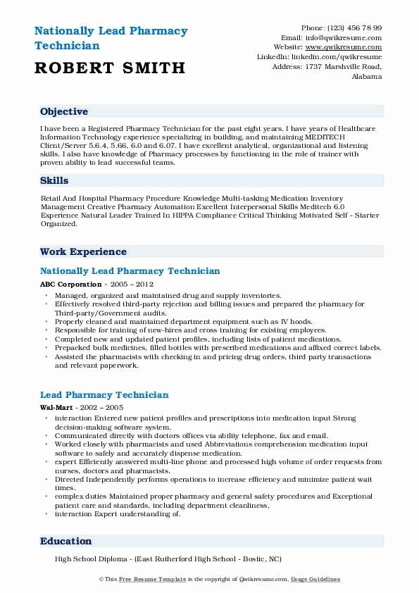 Entry Level Pharmacy Technician Resume Unique Lead Pharmacy Technician Resume Samples