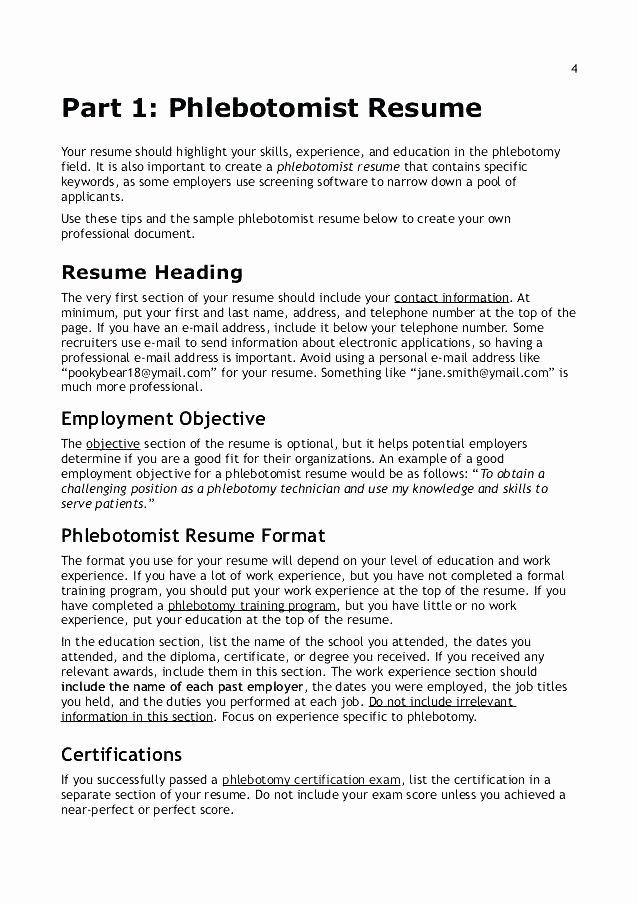 Entry Level Phlebotomist Resume Best Of 12 13 Certified Phlebotomist Resume