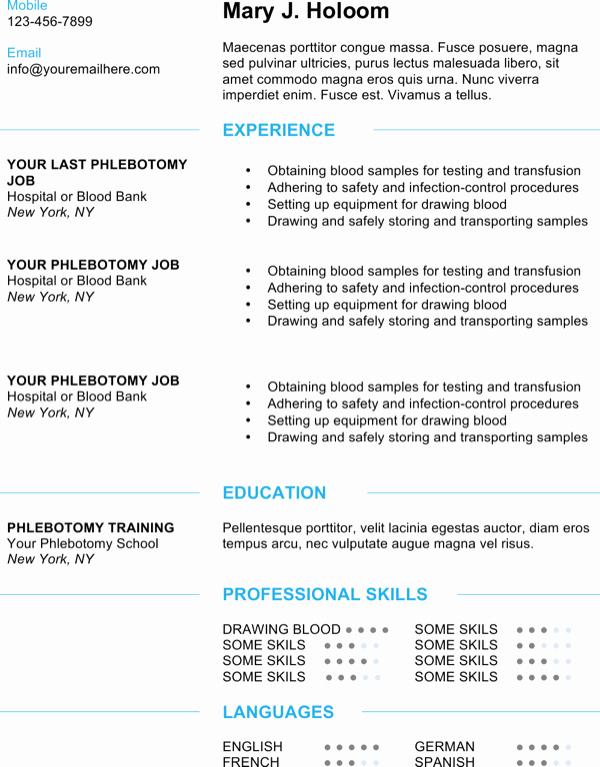 Entry Level Phlebotomist Resume Best Of Download Modern Blue Phlebotomy Resume Template for Free formtemplate