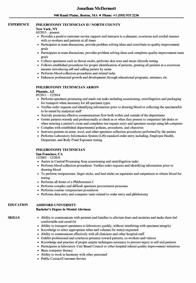 Entry Level Phlebotomist Resume Best Of Resume for Phlebotomy Technician Resume Sample