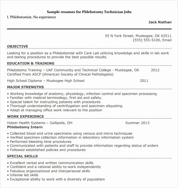 Entry Level Phlebotomy Resume Beautiful Phlebotomy Resumes Resume Sample