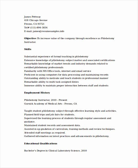 Entry Level Phlebotomy Resume Fresh Phlebotomy Resume Sample and Tips