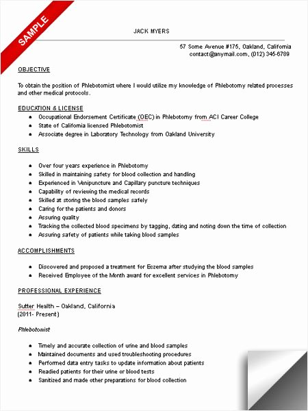 Entry Level Phlebotomy Resume Fresh Resume for Phlebotomy Technician Resume Sample