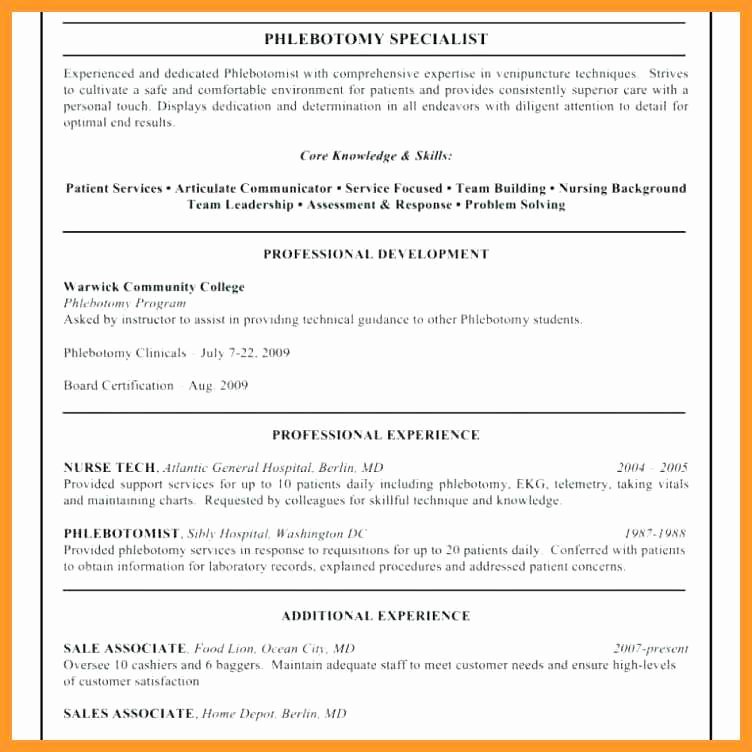 Entry Level Phlebotomy Resume Inspirational 12 13 Certified Phlebotomist Resume