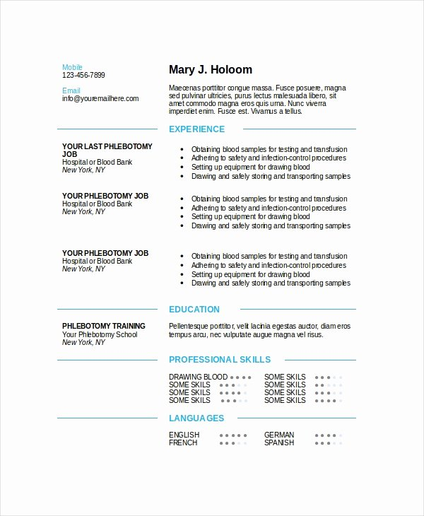 Entry Level Phlebotomy Resume Inspirational Phlebotomy Resumes Resume Sample