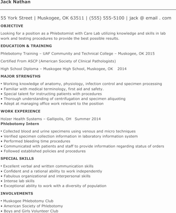 Entry Level Phlebotomy Resume Lovely Download Entry Level Phlebotomy Resume for Free formtemplate
