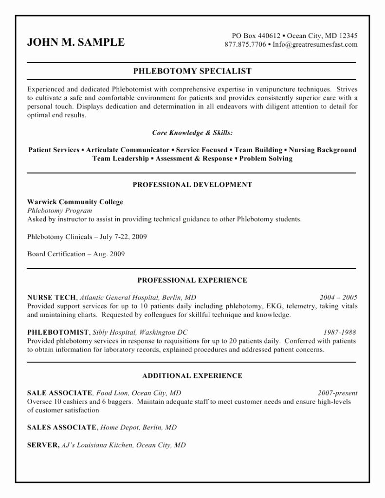 Entry Level Phlebotomy Resume New Sample Phlebotomist Resume Latest format Phlebotomy Samples Entry Level Medical Field