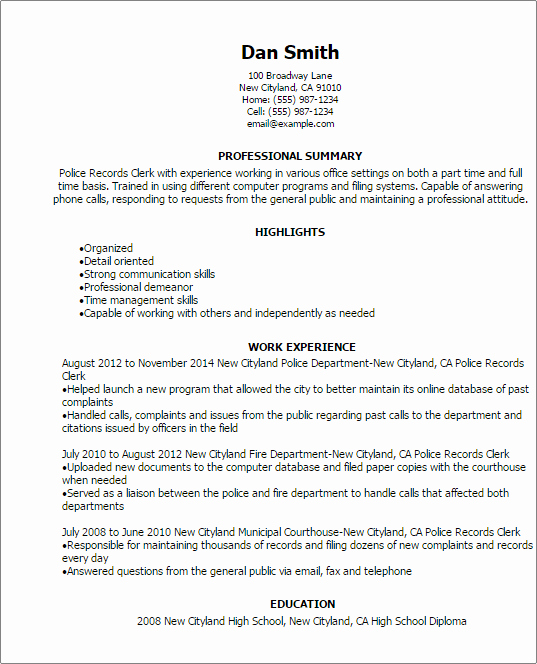 Entry Level Police Officer Resume Elegant Police Records Clerk Resume Template — Best Design & Tips