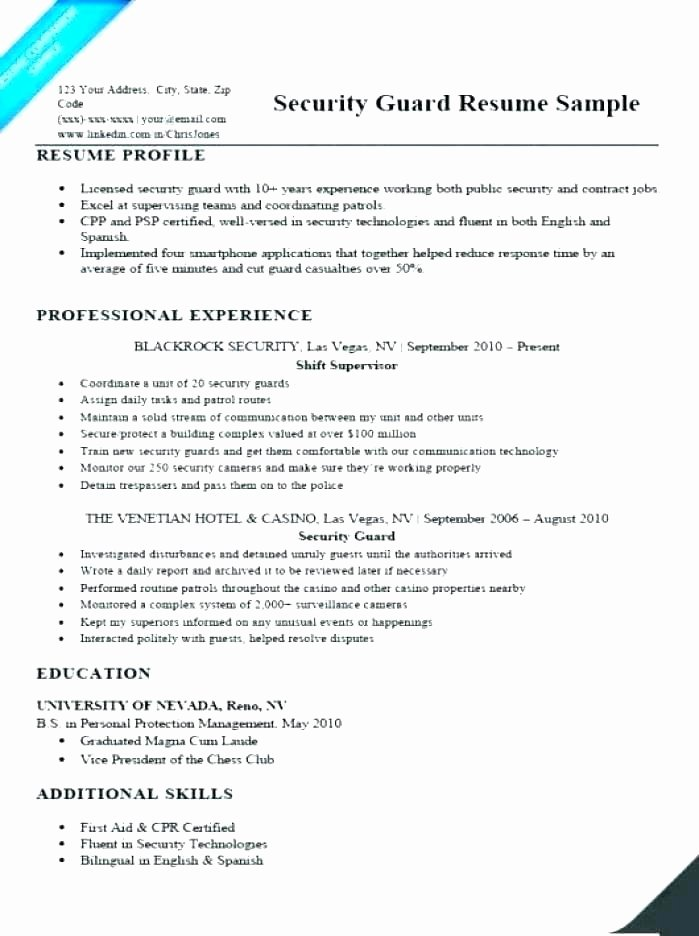 Entry Level Police Officer Resume Lovely 11 12 Resume Samples for Security Guard