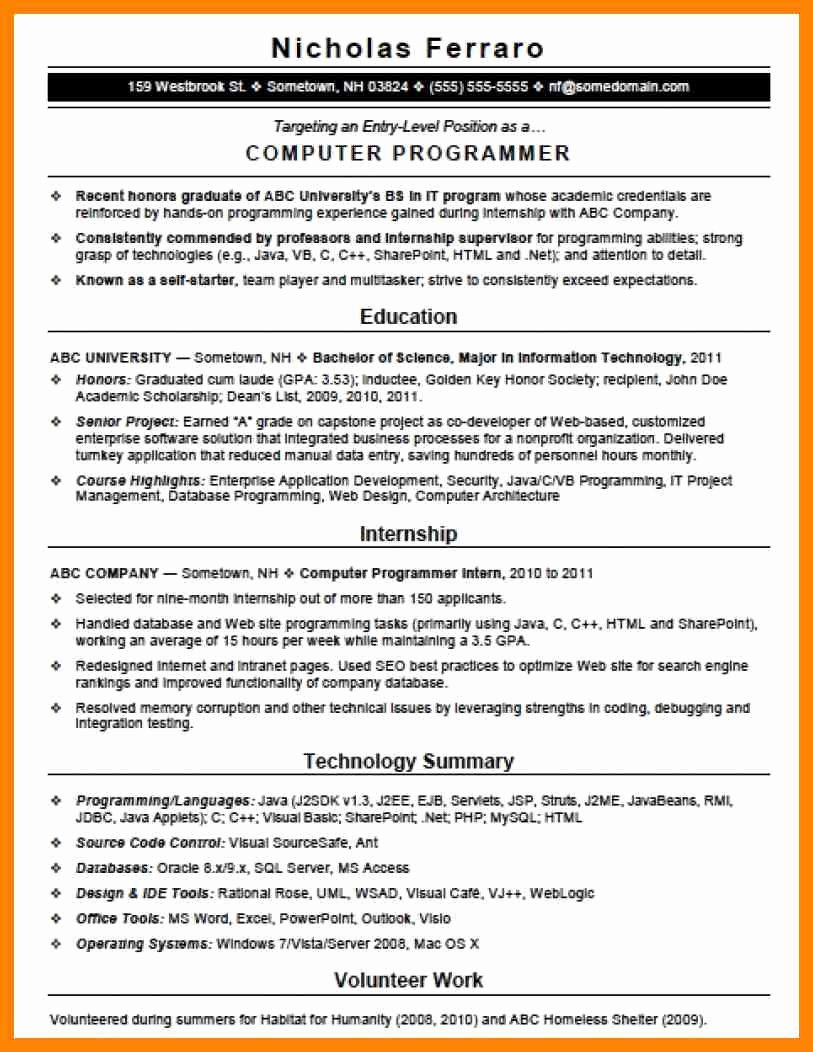 Entry Level Programmer Resume Awesome 10 Puter Programmer Resume