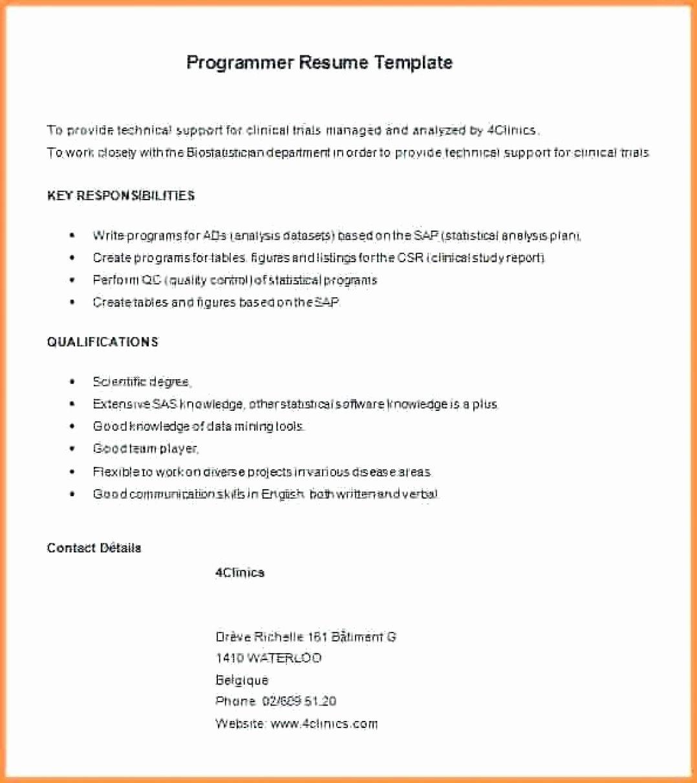 Entry Level Programmer Resume Elegant 11 12 Entry Level Sas Programmer Resume
