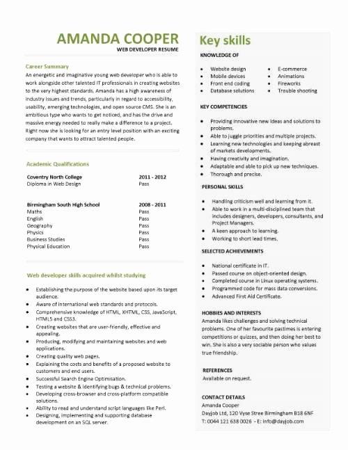 Entry Level Programmer Resume New Student Entry Level Web Developer Resume Template