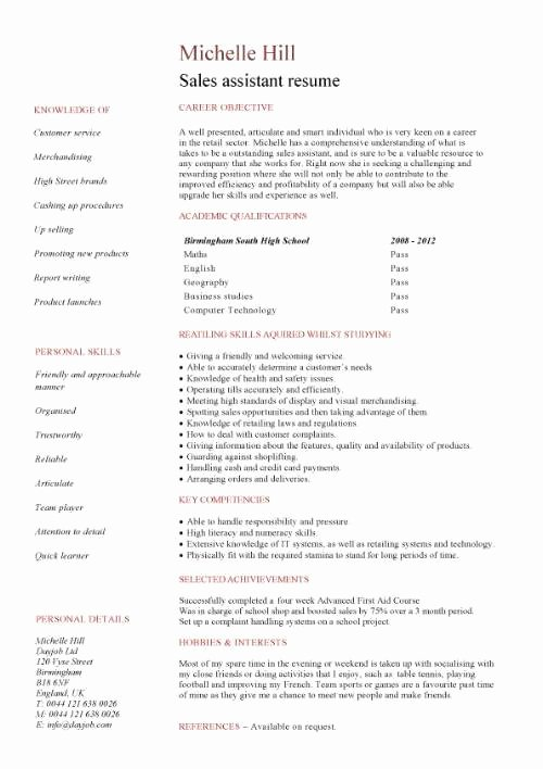 Entry Level Sales Resume Elegant Student Entry Level Sales assistant Resume Template