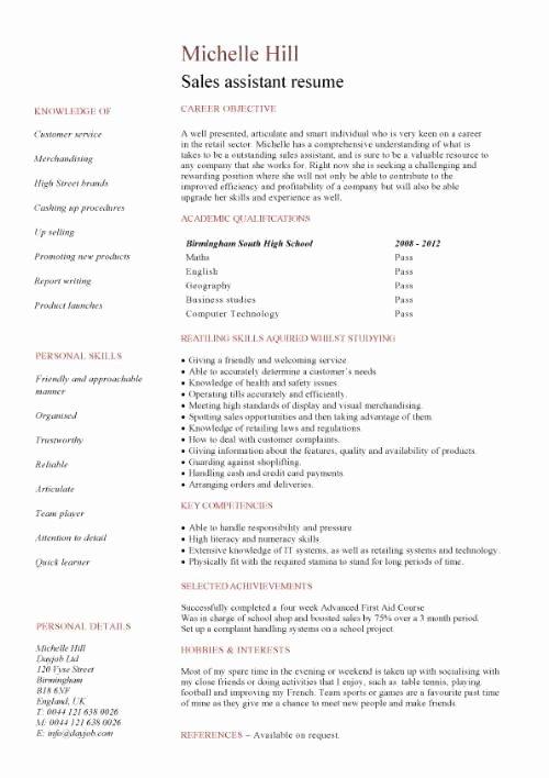 Entry Level Sales Resume Elegant Student Entry Level Sales assistant Resume Template