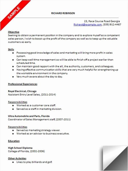 Entry Level Sales Resume Fresh 157 Best Images About Resume Examples On Pinterest
