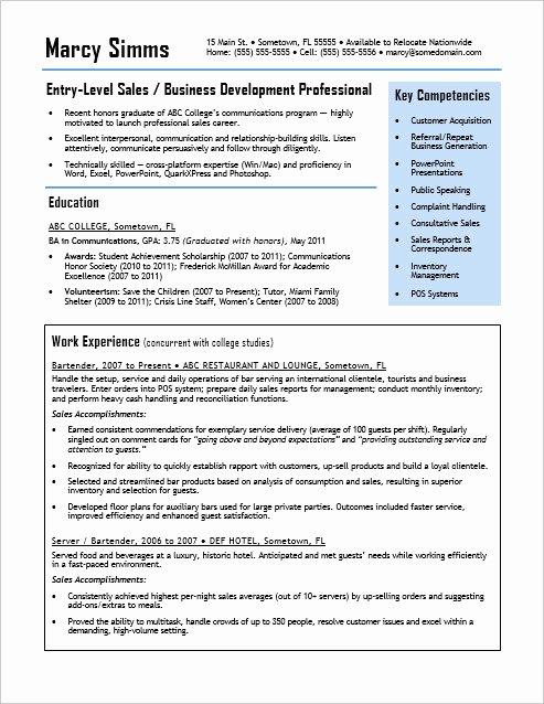 Entry Level Sales Resume Fresh Entry Level Sales Resume Sample
