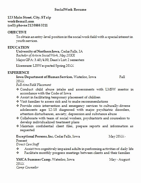 Entry Level social Work Resume Best Of social Work Resume