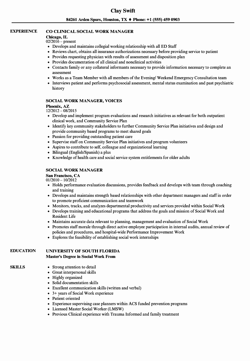 Entry Level social Work Resume Elegant social Work Manager Resume Samples