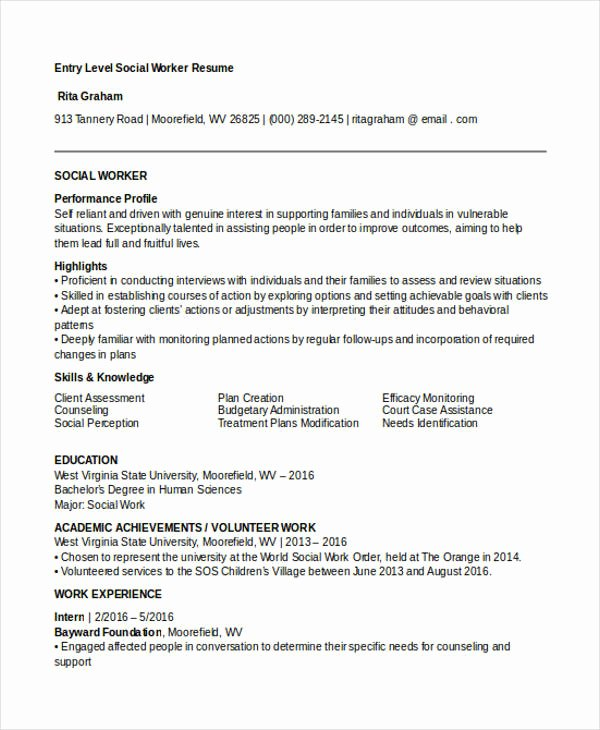 Entry Level social Work Resume Inspirational 30 Work Resume Templates In Pdf