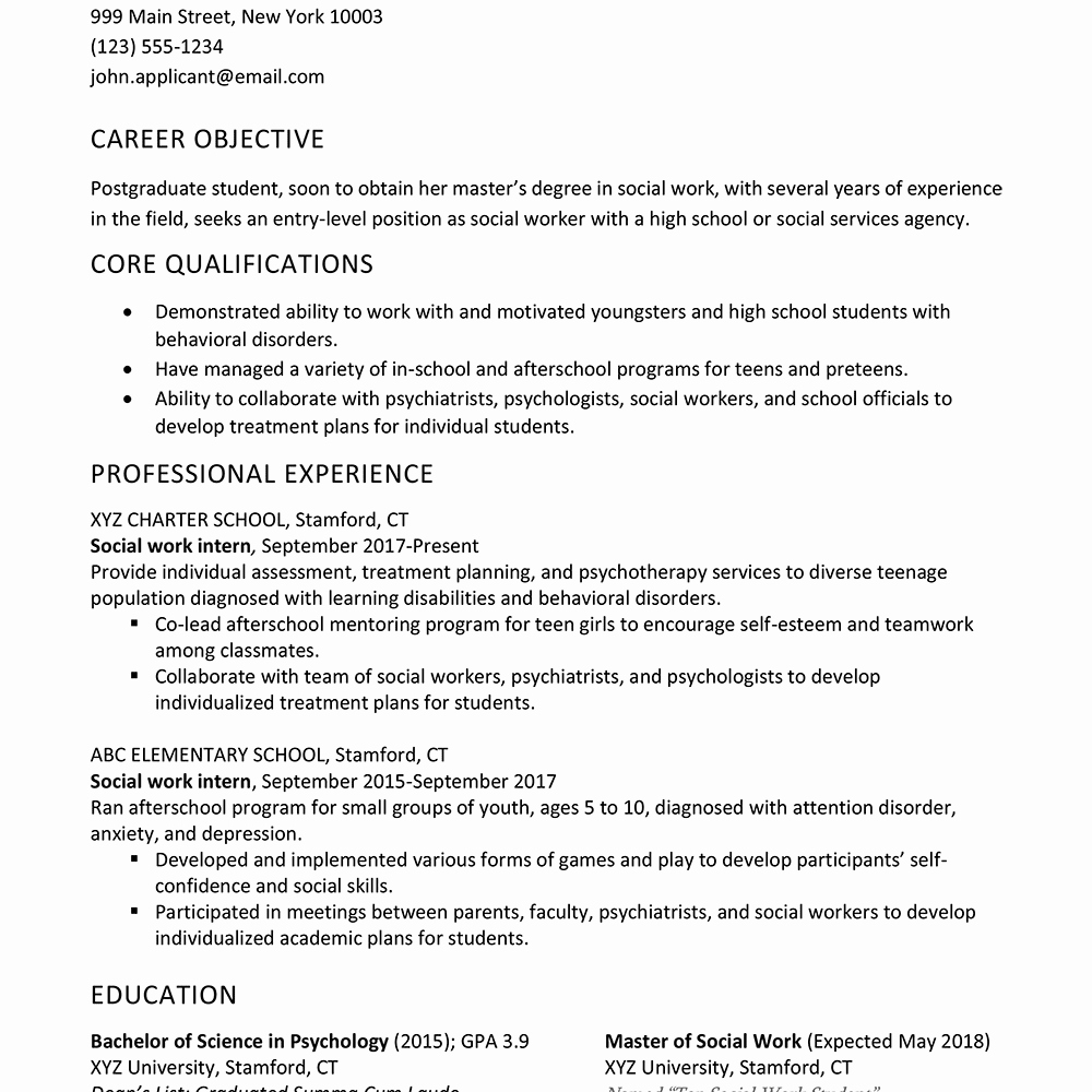 Entry Level social Work Resume Inspirational social Worker Resume and Cover Letter Sample