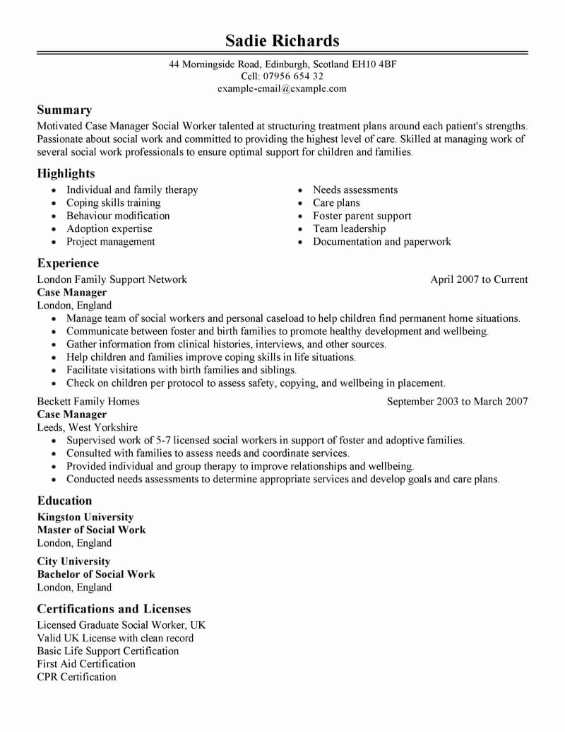 Entry Level social Work Resume New Best Case Manager Resume Example