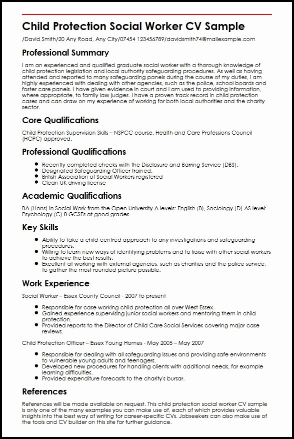 Entry Level social Work Resume Unique Child Protection social Worker Cv Sample Myperfectcv