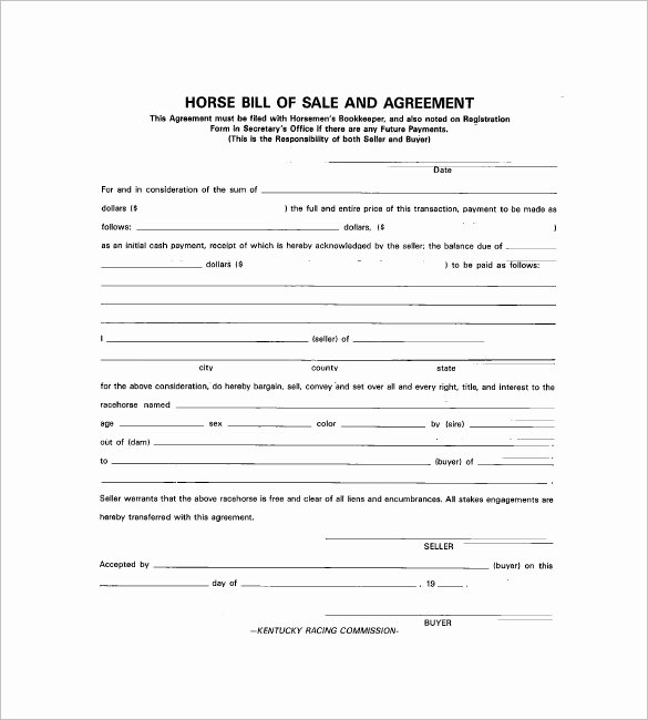 Equine Bill Of Sale Template Unique Horse Bill Of Sale – 8 Free Sample Example format Download