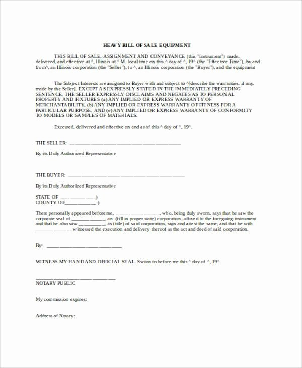 Equipment Bill Of Sale Awesome Free 36 Bill Of Sale forms In Word