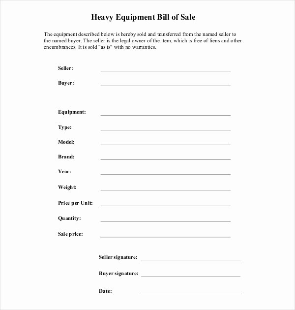Equipment Bill Of Sale Best Of Free 7 Sample Equipment Bill Of Sale forms