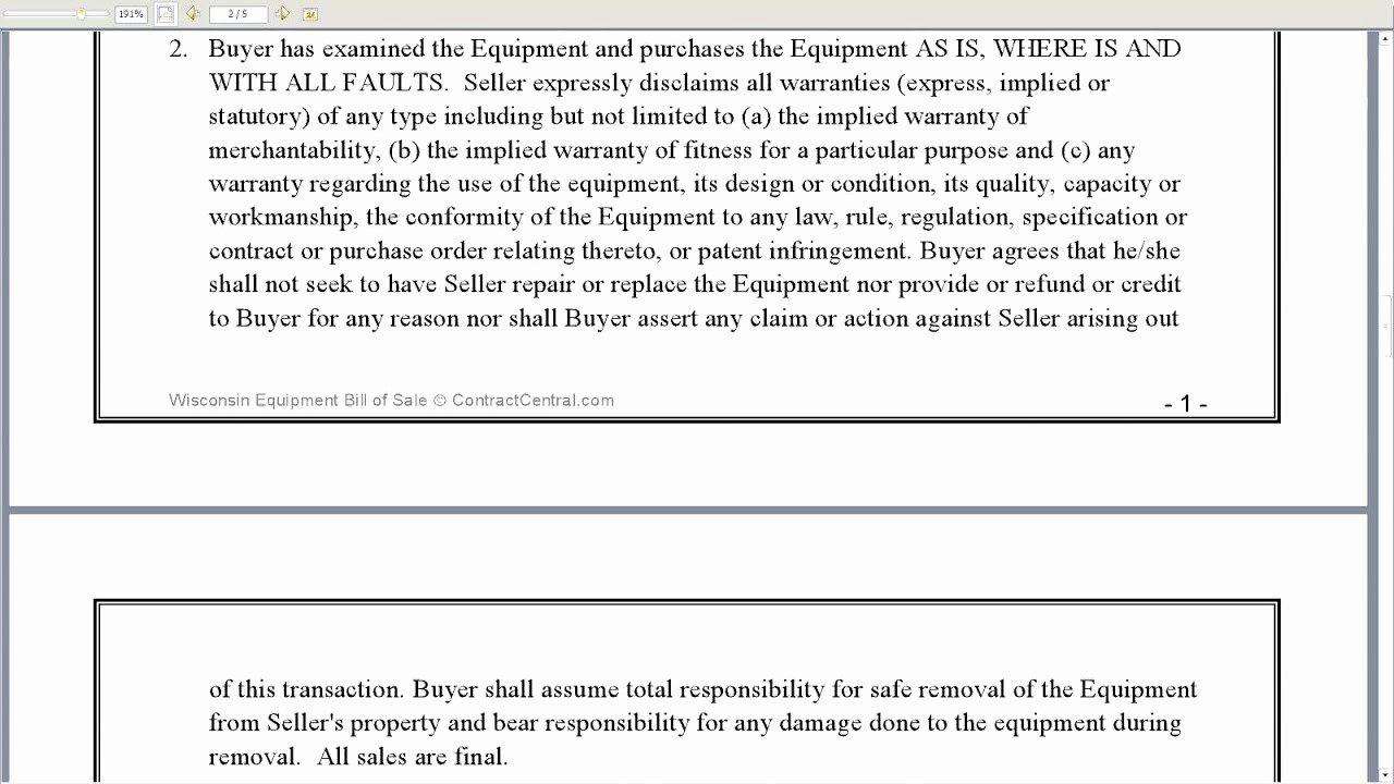Equipment Bill Of Sale Fresh Wisconsin Equipment Bill Of Sale