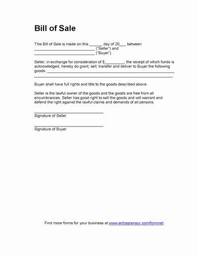 Equipment Bill Of Sale Inspirational Free Printable Equipment Bill Sale Template form Generic