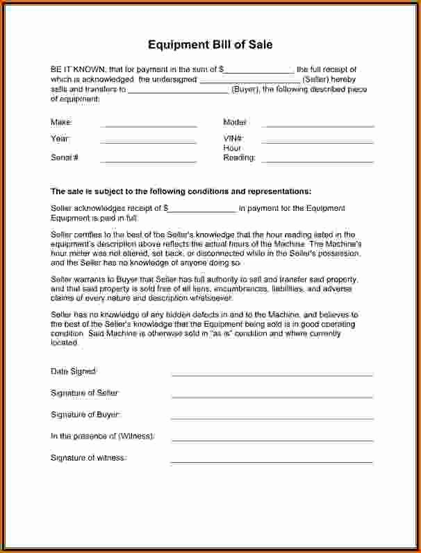 Equipment Bill Of Sale New 12 Equipment Bill Of Sale Template