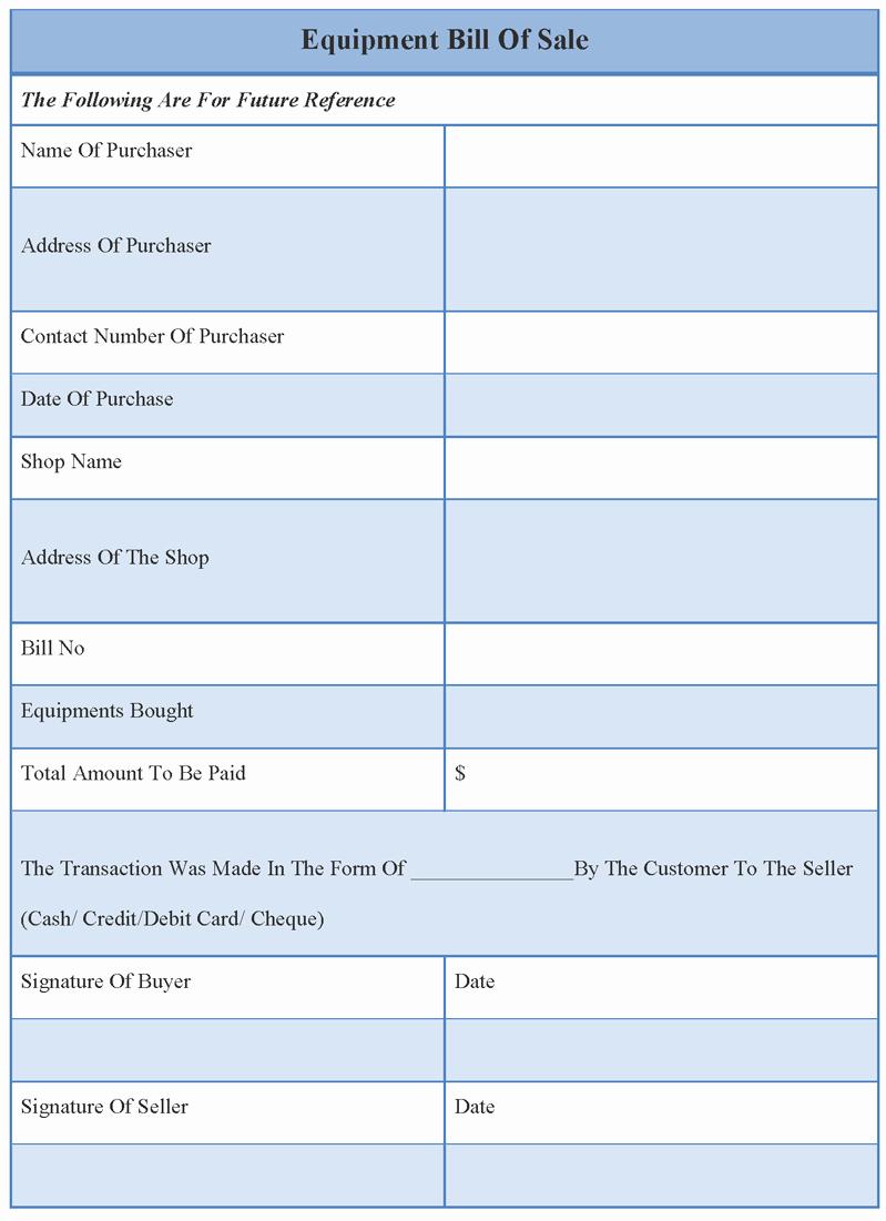 Equipment Bill Of Sale New Bill Of Sale Template for Equipment Example Of Equipment Bill Of Sale Template